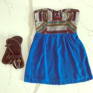 Strapless geometric top minidress